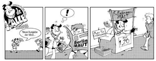 Cartoon: Kalle machts - Maut (medium) by Bartzillus tagged kalle,obdachlos,berlin,straßen,magazin,maut,obdachlos,berlin,straßen,ubahn,magazin,betteln,comic