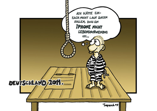 Cartoon: 2011 (medium) by Marcus Trepesch tagged iphone,death,execution,hanging,cartoon