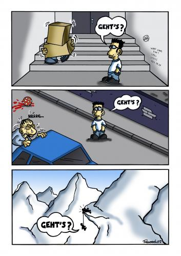 Cartoon: Gehts? (medium) by Marcus Trepesch tagged life,mountains,help,streets