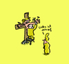 Cartoon: Links ist schief (small) by Ludwig tagged jesus,kreuz,schief,frau,mann,nagel,kreuzigung