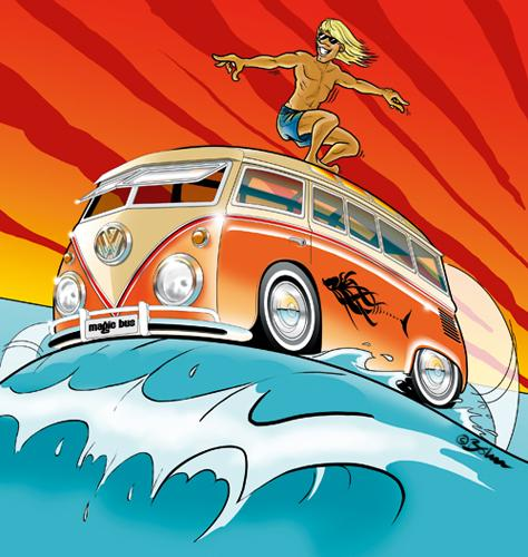 Cartoon: Magic Bus (medium) by Michael Böhm tagged bus,van,vw,surf,sun,summer,ocean,ozean,wasser,water,sommer,sonnenschein,sport