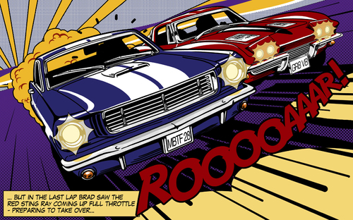 Cartoon: The Duel (medium) by Michael Böhm tagged stingray,mustang,cars,muscle,lichtenstein,popart,classic,race