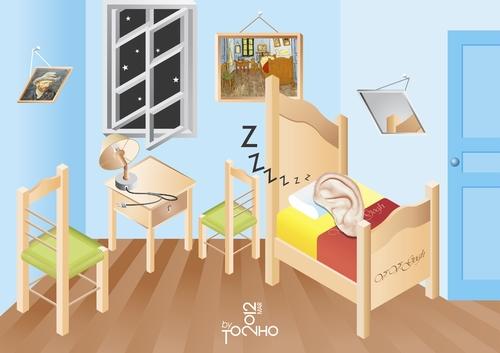 Bedroom van gogh a la escher by tonho famous people for Dormitorio animado