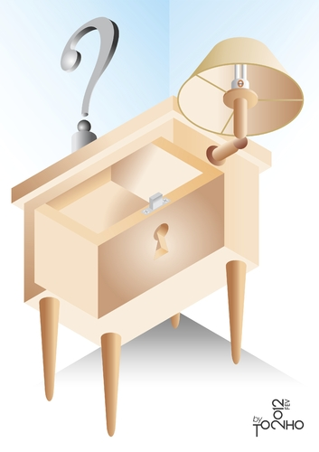 Cartoon: bedside table (medium) by Tonho tagged bedside,table,escher,ilusion,distortion