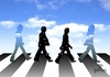 Cartoon: Abbey Road (small) by Tonho tagged beatles,abbey,road,night,day,crossing,crosswalk