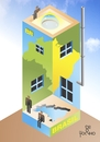 Cartoon: My home my country (small) by Tonho tagged home,house,country,escher,brazil