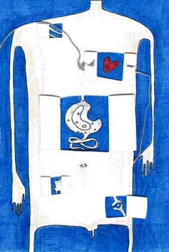 Cartoon: He (medium) by flyingfly tagged card,man,he,body,blue,heart,stomach,bone,die,love,hand,window,act