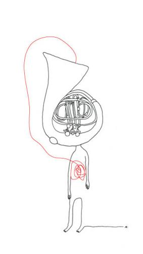 Cartoon: Hornhaut (medium) by flyingfly tagged music,musik,horn,skin,haut,hornhaut,men,mann,lina,khesina