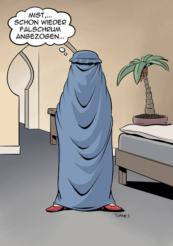 Cartoon: Burka Not (medium) by Tommestoons tagged burka,islam,mohammed,islamisten,verhuellung,frau,arabien,irak,iran,verwechslung,fehler,falschrum,umgedreht,umgekehrt,verdreht,kleidung,sehschlitz