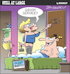 Cartoon: Still at large 105 (small) by bindslev tagged honeymoon,honeymoons,wedding,night,nights,day,days,groom,grooms,bride,brides,bridegroom,bridegrooms,weddings,room,service,services,just,married,infidelity,unfaithful,adulterer,adulterers,sex,worker,workers,adultery