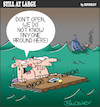 Cartoon: Still at large 83 (small) by bindslev tagged shipwreck,shipwrecks,shipwrecked,castaway,castaways,raft,rafts,door,doors,knock,knocks,knocking,stranger,danger,marooned,rescue,rescues,emergency,adrift,unfriendly,unwelcome,unwelcoming