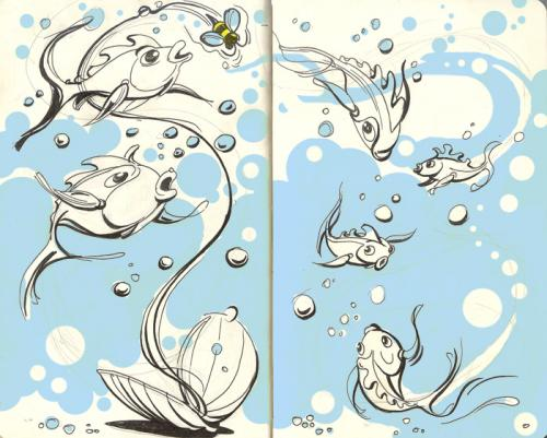 Cartoon: bubbles and bees (medium) by rudat tagged moleskine,sketchbook,fish,bubbles,bees,rudat