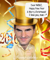 Cartoon: Happy New Year by Roger Federer (small) by funny-celebs tagged rogerfederer nole novakdjokovic happynewyear tennis 2016