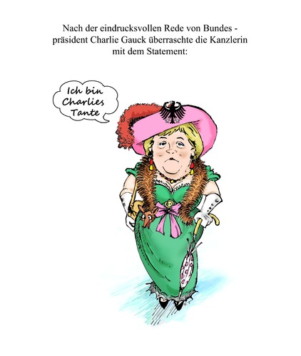 Cartoon: Charlies Tante (medium) by Simpleton tagged charlys,tante,charleys,merkel,kanzlerin,bundeskanzlerin,hebdo,charlie