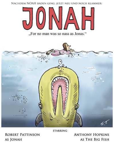 Cartoon: JONAH - The Movie (medium) by Simpleton tagged noah,film,kino,weißer,hai,jaws,jonas,walfisch,plakat,poster