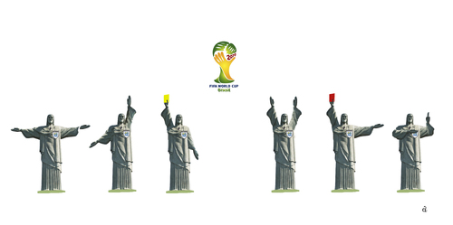 Cartoon: Referee in Rio (medium) by Vasiliy tagged world,cup,football,soccer,rio,de,janeiro,brazil,championship,judge,referee,jesus,christ,statue,monument,gestures,match,sports,game,rules,punishment,cross