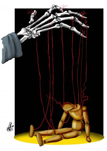 Cartoon: without words (medium) by Nikola Otas tagged marionette