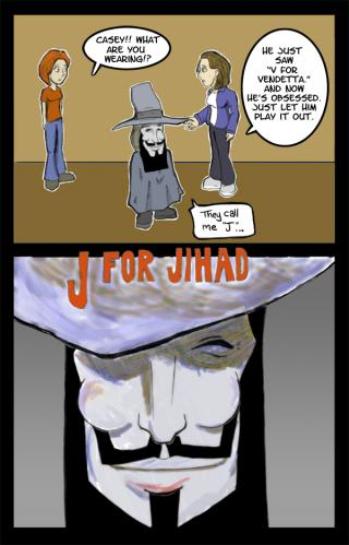 Cartoon: J for Jihad (medium) by egorger tagged jihad,vendetta,pure,outrage