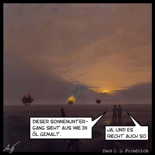 Cartoon: Sonnenuntergang (medium) by Anjo tagged sonnenuntergang,caspar,david,friedrich,bp,öl,bohrinsel,deepwater,horizon,golf,von,mexiko