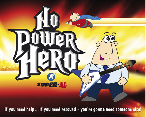 Cartoon: Guitar Hero (medium) by Super-AL tagged hero,guitar,rock,concert,music,funny