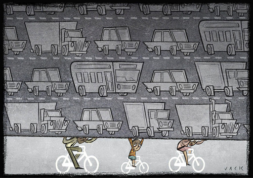 Cartoon: Bicycle path (medium) by Giacomo tagged bicycle,path,traffic,machine,car,truck,smog,pollution,road,weight,giacomo,cardelli