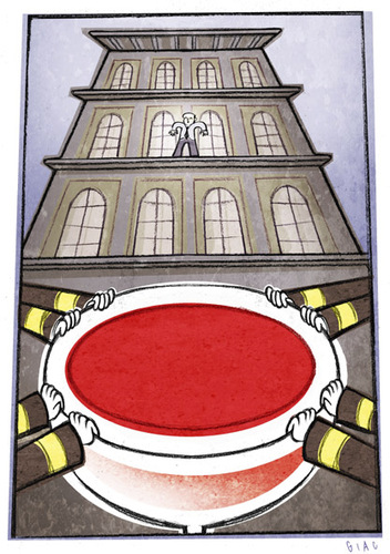 Cartoon: Saving (medium) by Giacomo tagged wine,salvation,red,suicide,jump,firefighters,glass,palace,giacomo,cardelli