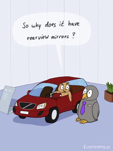 Cartoon: CAR PURCHASE (medium) by fcartoons tagged car,purchase,owl,mirror,volvo,tie,necktie,tire,plant,new,fcartoons