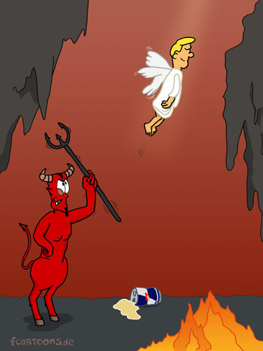 Cartoon: HELL (medium) by fcartoons tagged höhle,feuer,rot,cartoon,dreizack,dose,bull,red,teufel,hölle,engel,angel,devil,hell
