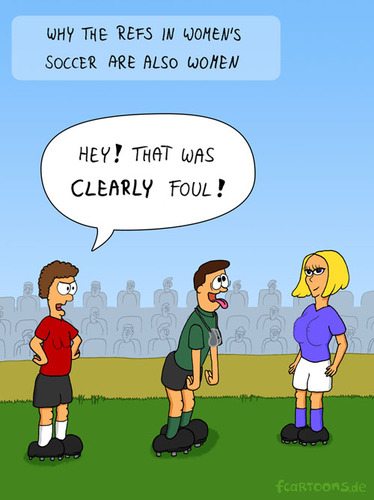 Cartoon: WOMENS SOCCER (medium) by Frank Zimmermann tagged world,cup,women,soccer,foul,blond,girl,ref,referee,schiri,schiedsrichter,frauen,fussball,wm