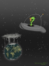 Cartoon: Alien visit (small) by fcartoons tagged alien,visit,earth,erde,weltall,space,smell,environment,global,warming