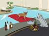 Cartoon: Alzira (small) by fcartoons tagged alzira dog pool hund matratze cat katze swimmingpool diener flasche whisky hotel cartoon fcartoons