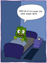 Cartoon: kleines Kind (small) by fcartoons tagged kleines,kind,monster,bett,bed,wecker,nacht,dunkel