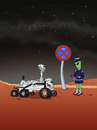 Cartoon: Marsrover Curiosity (small) by fcartoons tagged mars,rover,curiosity,fcartoons,cartoon,knöllchen,halteverbot,zettelpupe,alien,politesse,parkstreifen,ticket,nasa,grün,uniform