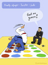 Cartoon: NEW SPORT (small) by fcartoons tagged new,sport,olympic,ref,judo,twister,yellow,green,red,blue,game,fcartoons,cartoon,comic,judoka