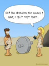 Cartoon: POST (small) by fcartoons tagged post,iphone,phone,stone,age,fur,cave,cartoon,cavemen,man,woman,wife,stunned,wheel,dress,mann,frau,steinzeit,rad,pelz,keil,faustkeil,höhle