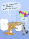 Cartoon: Ronnie und Nick in der Küche (small) by fcartoons tagged waschbär känguru küche kühlschrank ronnie nick ballons party feier fridge plate kitchen spülmaschine teller