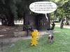 Cartoon: the little Alien - lifetip (small) by fcartoons tagged the little alien lifetip read book cartoon code denkmal grau mann sprache tipp wiese language master memorial park yellow monument