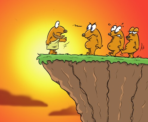 Cartoon: Abweichler (medium) by Rob tagged lemming,lemminge,abweichler,klippe,cliff,philosoph,sonne,sunset