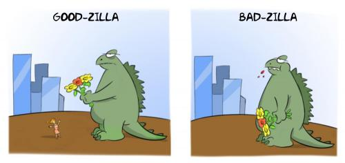 Cartoon: Good versus Bad (medium) by Rob tagged goodzilla,rob,tokio,flowers,monster