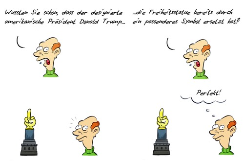 Cartoon: Kommentar Symbol (medium) by Rob tagged kommentar,symbol,freiheitsstatue,statue,of,liberty,donald,trump,president,präsident,us,usa,amerika,america