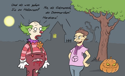 Cartoon: Trendy Halloween (medium) by Rob tagged halloween,clown,horrorclown,gruselclown,horror,gutmensch,hipster,kostüm,verkleidung