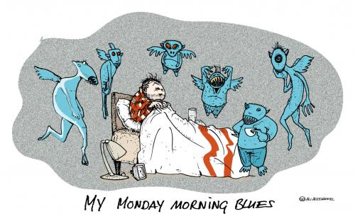 Cartoon: MONDAYMORNINGBLUES (medium) by ali tagged monday,montag,blues,sleep,schlafen,geister,aufstehen