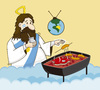 Cartoon: Dios Argentino (small) by PAICHE tagged argentina,dios,mate,cartoon,grill