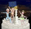 Cartoon: EU potentates. (small) by Maria Hamrin tagged caricature,tower,rompuy,barroso,ashton,euro,flag,eu,brussels,luxemburg,strasbourg,leaders