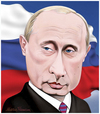 Cartoon: Putin. (small) by Maria Hamrin tagged caricature,leader,chief,flag,banners