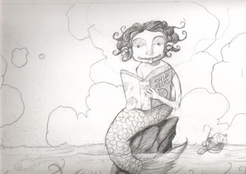 Cartoon: mermaid (medium) by orchard tagged mermaids,pencil