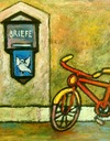 Cartoon: you got mail ! (small) by iris lydia tagged mail,letterbox,bicycle,velo,fahrrad,brief,post,liebe,love,loveletter