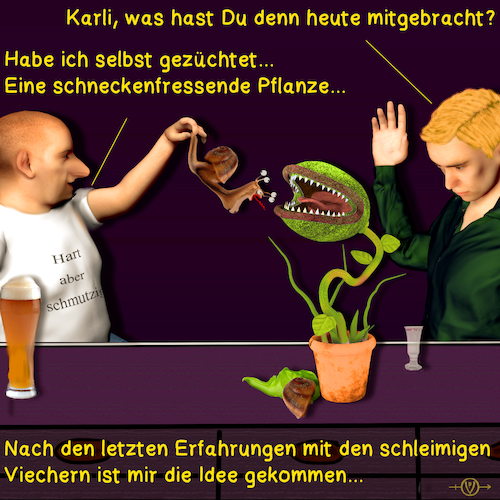 Cartoon: Bargespräche Schnecken (medium) by PuzzleVisions tagged puzzlevisions,bargespraeche,bar,talks,fleischfressende,pflanze,schnecke,snail