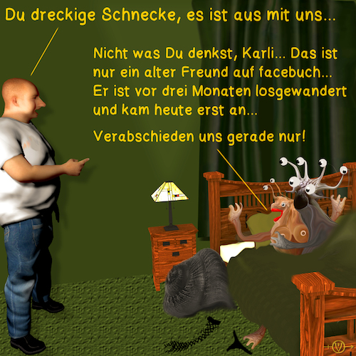 Cartoon: Schneckenromantik 4 (medium) by PuzzleVisions tagged puzzlevisions,schnecke,snail,mussel,facebook,friend,freund,karli