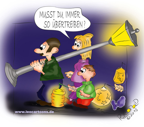 Cartoon: Martinstag (medium) by Leopold tagged martinstag,martinday,familie,familiy,mutter,mother,vater,vather,laternen,lamp,sonne,sun,mond,moon,sterne,stars,blau,blue,dunkel,dark